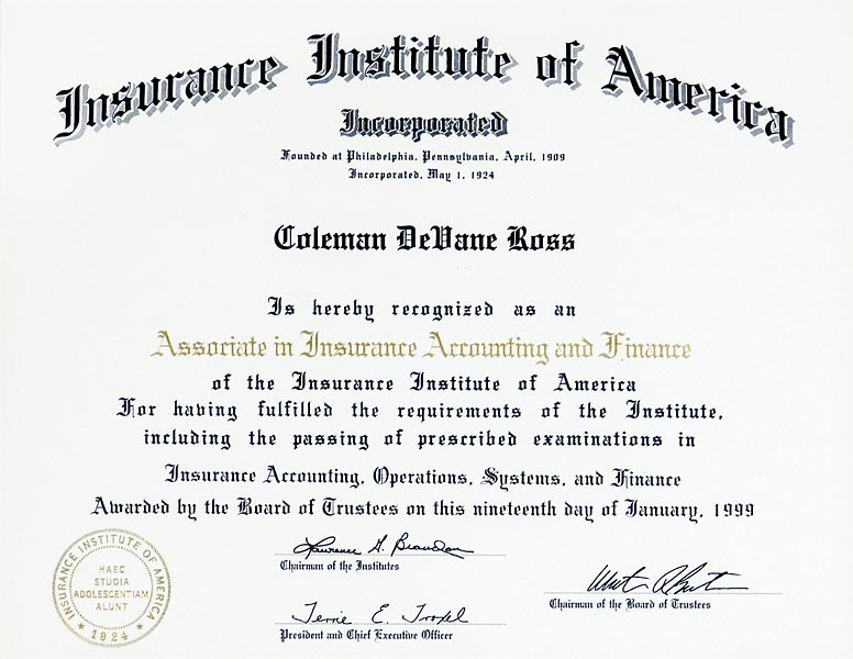 coleman d ross diplomas and certificates earned